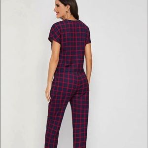 SHEIN Other - Plaid top & drawstring waist pants